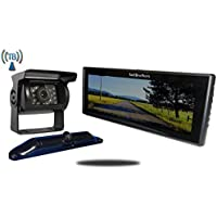 Tadibrothers 5th Wheel Wireless Backup Camera System with a 9 Inch Mirror and 2 Backup Cameras