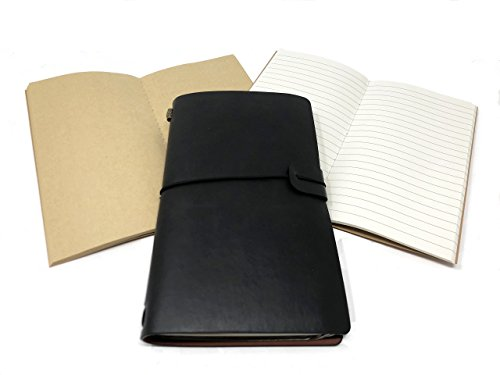 Travelers/Business Notebook Leather Midori style with extra notebook refill set by P3 & Company