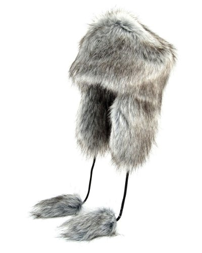 Futrzane Aviator Faux Fur Hat Cossack Russian Style Trapper Winter Women Hat Ushanka (M, Silver)
