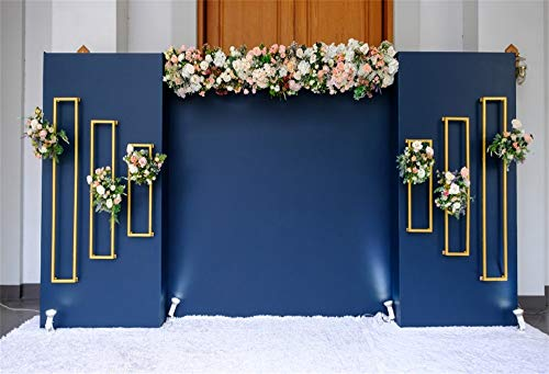 AOFOTO 5x3ft Floral Design Wedding Decor Backdrop Vinyl Romantic Room Interior Bouquet Flower Love Blue Background for Photography Marriage Ceremony Birdal Shower Banquet Decoration Photos Props