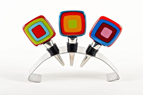 Set of 3 Carnival Style Stoppers and display holder by Helen Rudy Glass Studio