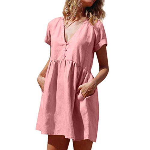 (Fitfulvan Womens Cotton and Linen V Neck Short Sleeve Dress with Pocket Summer Casual Pure Color Cute Mini Skirt Pink)