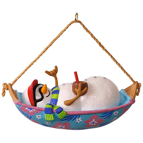 Hallmark Keepsake 2017 Mele Kalikimaka Snowman in Hammock Musical Christmas Ornament Snowman Christmas Tree Ornament