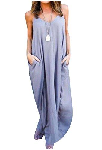 Coolred-femmes Simples Fronde Garniture Pur Poche Plage De Couleur Claire Robe Longue Violette