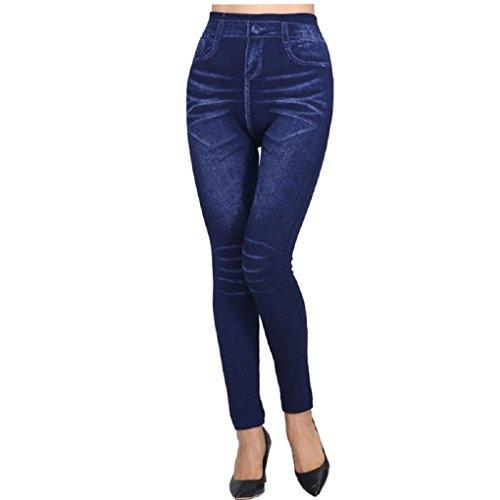 Krastal 2018 Mode Femmes Denim Jeans Leggings Plus Size Slim Pencil Print Bleu