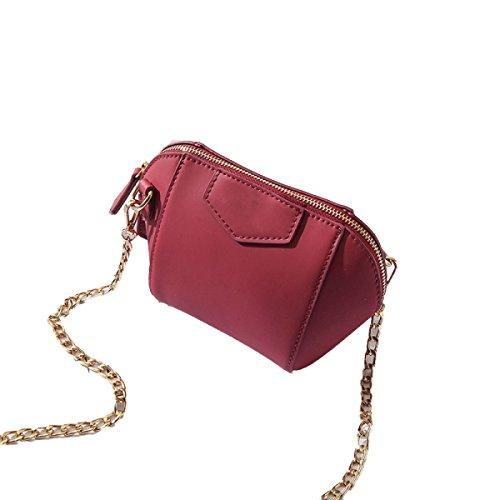FZHLY Frühlings-Mini Damen-Tasche Einfache Shell-förmige Schulter Messenger Bag,Red