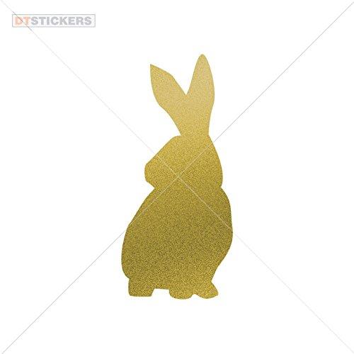 Decoration Vinyl Stickers Funny Rabbit Figure Decoration vinyl (9 X 4,10 In. ) Matte Metallic Gold ()