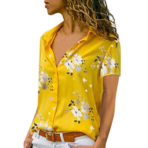 Lovor Womens Summer Casual V Neck Floral Print Short Sleeve Button Down Collar Loose Henley Blouses Tunic Blouse Shirt(Yellow,S)