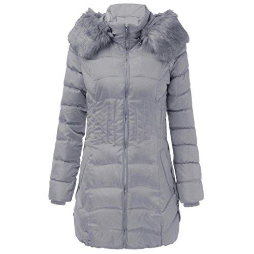 WINWINTOM Moda para Mujer de Invierno larga chaqueta de Algodón Caliente Adelgazan la Capa Parka Trench Outwear Gris