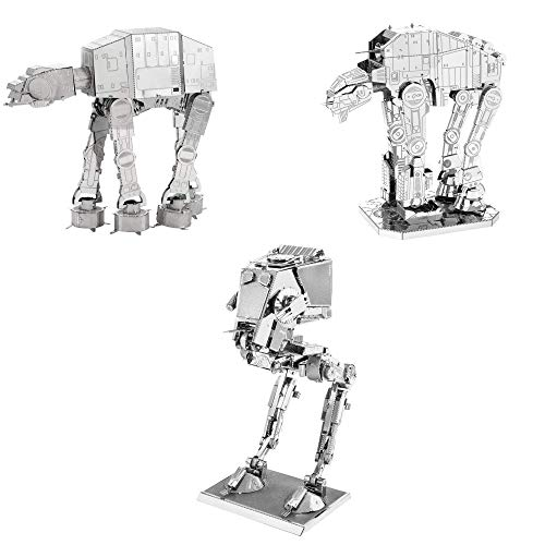 (Fascinations Metal Earth 3D Metal Model Kits Star Wars Walker Set of 3 - at-at - at-ST - at-M6 Heavy Assault Walker)
