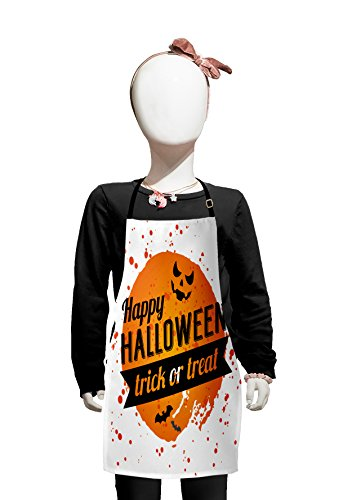 Lunarable Halloween Kids Apron, Happy Halloween Trick or Treat Watercolor Stains Drops Pumpkin Face Bats, Boys Girls Apron Bib with Adjustable Ties for Cooking Baking and Painting, Orange Black White ()