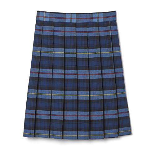 Blue Plaid Pleated Skirt - French Toast Big Girls' Plaid Pleated Skirt, Blue/Red, 7
