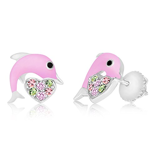 (Premium 8MM Crystal with Pink Enamel Dolphin)
