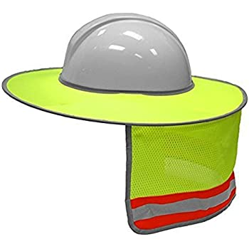 MLKISHIGO HI VIZ Full-Brim Sunshield, Sunshade for Hardhats, Lime