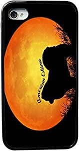 American Eskimo Dog Silhouette By Moon Design iPhone 4 & 4s Black Case Cover (Black PC with bumper protection) for Apple iPhone 4 & 4s