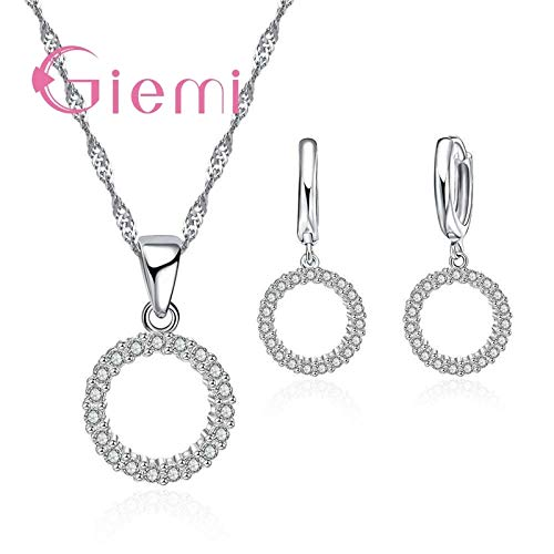 (Sterling Silver Cubic Zircon Pendant, Necklace, Hoop Earrings Jewelry Sets | for Women | Lucky Forever Circular Full Crystal Jewelry Sets)