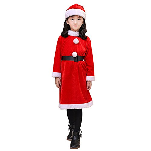 Christmas Santa Costume for Child Girls Red Velvet Dress Santa Hat and Belt 028D - Santa Costume Girl