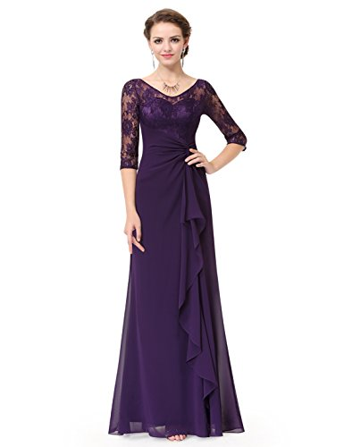 Ever-Pretty Womens Sheer Lace Long Sleeve Ruched Empire Waist Mother Of The Bride Dress 6 US Dark Purple