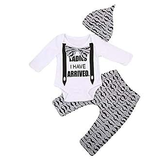 honeys Newborn Boy Girl 3pcs Set Mustache Beard Long Sleeve Romper+Pants+Hat (6-12months, White&Ladies I Have Arrived)