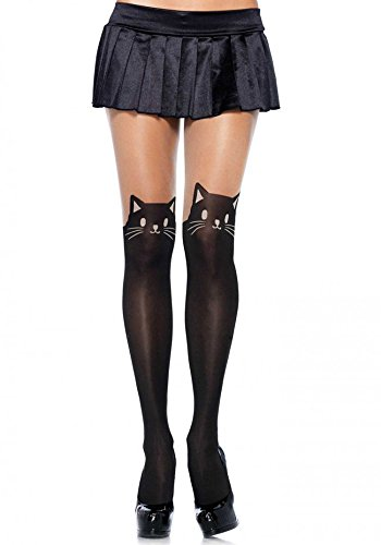 Fishnet Women's Stockings Skull Mesh See Thigh Hi Black Lace Tights Pantyhose (One size, Cat Black) (Halloween Costumes Fishnet Tights)