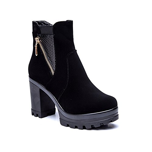 Wedge Boots Suede Black for Black1 Leather Fashion Cestfini Women Ankle High Winter 48IAZq