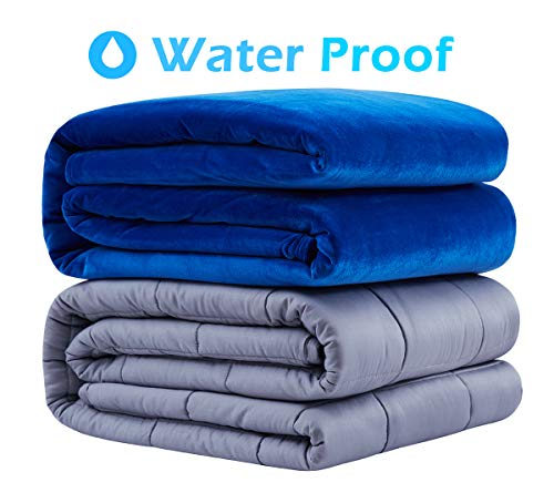 Cheap Roomate Weighted Blanket & Removable Cove | Resist Water Spills Two Models for Kids and Adults | Cool Breathable Inner & Ultra-Soft Minky Fleece Cover (Blue 48 72 -15LB) Black Friday & Cyber Monday 2019