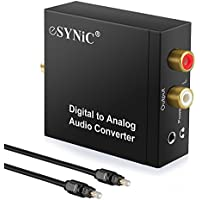 ESYNIC DAC Digital to Analog Audio Converter Optical Coax to Analog RCA Audio Adapter with Optical Cable 3.5mm Jack Output for HDTV Blu Ray DVD Sky HD XBox 360 TV Box