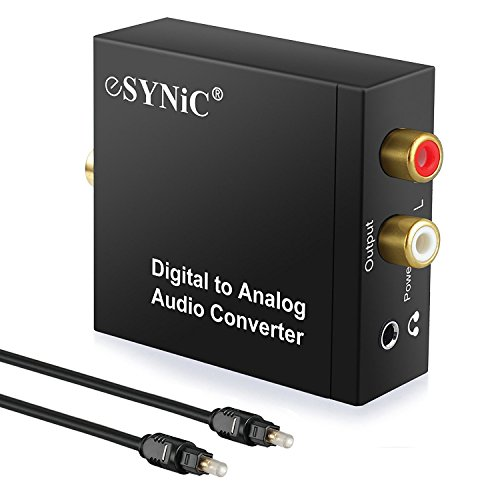ESYNIC DAC Digital to Analog Audio Converter Optical Coax to Analog RCA Audio Adapter with Optical Cable 3.5mm Jack Output for HDTV Blu Ray DVD Sky HD XBox 360 TV Box - Audio Tv Box