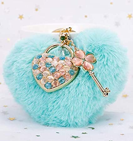 Colgante de Llavero en Forma de corazón Colgante de Diamante de corazón Bolso Colgante Joyas de Felpa Colgante de Bola de Pelo de Amor Colgante de Llavero