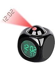 Lancoon Projektionsväckarklocka – LED-skrivbordsklocka med söt design, stor skärm, tid/temperatur/larm/snooze-display – AC05