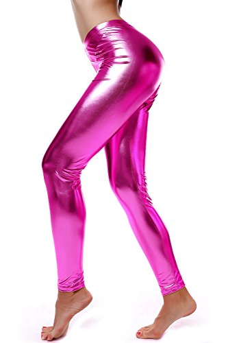 DIAMONDKIT Women Faux Leather Leggings Wet Look Metallic Waist Legging Pants Trousers (099PINK, XL) -