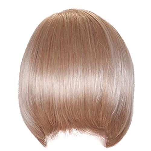 (Tigivemen Elegant White Blonde WigsWomen's Short Cosplay Brazilian Women's Silk Straight Virgin Costume Wig)