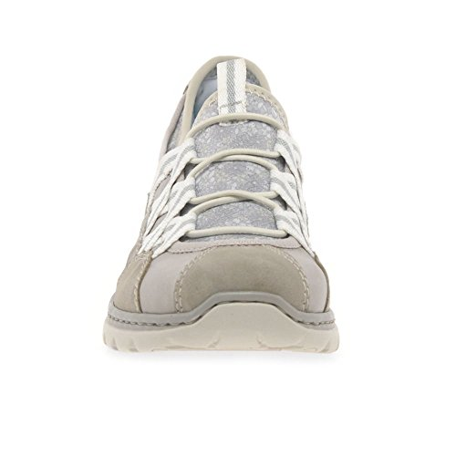 Rieker Womens Ice Gray Trainer Slip On Zip Flat Shoe Sneaker Gray UK 7 - EU 42 - US 11 NwofjhG