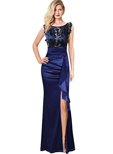 VFSHOW Womens Formal Ruched Ruffles Embroidered Evening Wedding Maxi Dress 290 BLU XS