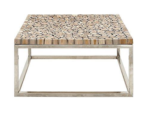 Stainless Steel Teak Coffee Table by Benzara