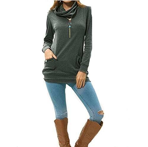 Tunic Pockets Gray Slim Womens Tops Neck Button With ANBOO Casual Cowl vzAOUUY