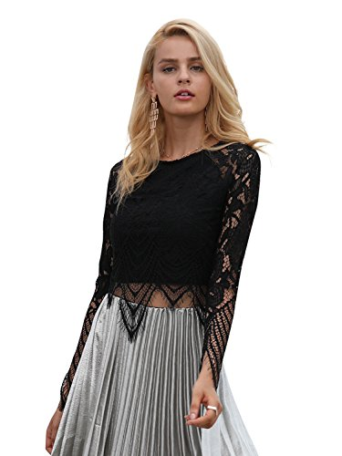 Simplee Women's Sexy Hollow Out Lace Blouse Party Club Crop Tops Camisole