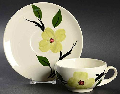 - Blue Ridge Southern Potteries Handpainted Underglaze Chartreuse Dogwood Flat Cup & Saucer Set