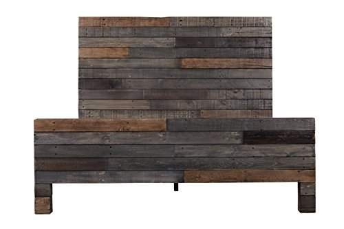 Rustic Reclaimed Wood Vintage Bed, Queen, Gray For Sale