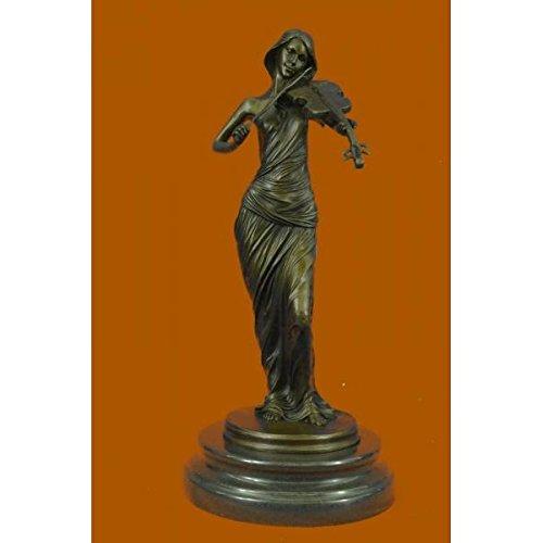Charming Brown Color Patina Bronze Sculpture Violin Player Viola Musician Marble Figurine ()