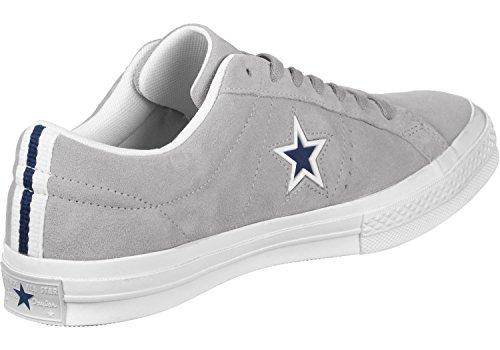 Converse Estilo De Vida De Una Estrella Zapatos De La Aptitud De Buey De Ante Unisex Del Adulto, Gris Negro (lobo Gris / Blanco / Azul Marino 097)