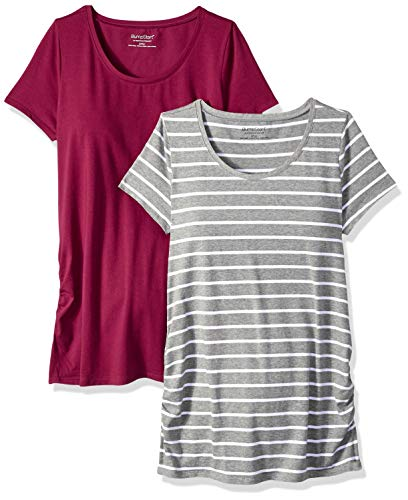 - Motherhood Maternity Women's Maternity BumpStart 2 Pack Short Sleeve Tee Shirts, Beet Red and Grey/White Stripe, Large