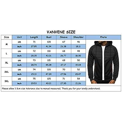 VANVENE Men's Casual Hoodie Sweatshirts Full Zip up Jumper Jacket Cardigan Hooded M-3XL 4
