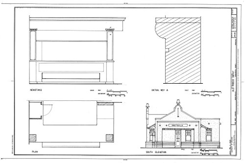 Historic Pictoric Blueprint Diagram HABS ARK,72-FAYV,4- (Sheet 5 of 5) - Old Frisco Depot, 550 West Dickson, Fayetteville, Washington County, AR 12in x 08in -
