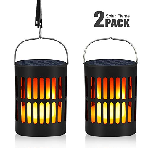 Bebrant Solar Flame Lanterns Flickering Flames Solar Torch Lights Outdoor Hanging Lanterns Solar Powered and USB Charging Solar Lantern Waterproof Decoration Lighting Dusk to Dawn Auto On/Off (2 Pack) ()