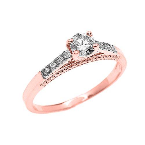 Bague Femme/ Bague De Fiançailles 14 Ct Or Rose 0.25 Ct Solitaire Diamant