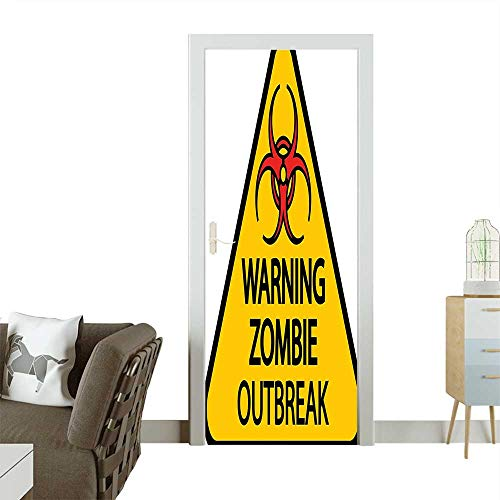 Homesonne Decorative Door Decal Warning Zombie Outbreak Sign Cemetery Infection Halloween Graphic Earth Yellow Red Black Stick The Picture on The doorW35.4 x H78.7 -