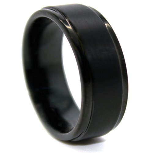 8mm Black Tungsten Carbide with Raised Satin Center Wedding Band Size (13)