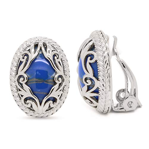 (Vintage Oval Clip on Earrings Blue Ornate Scroll Rhodium Plated Women Fashion)