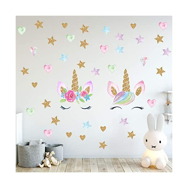Unicorn Wall Decals,Unicorn Wall Sticker Decor with Heart Flower Birthday Christmas Gifts for Boys Girls Kids Bedroom Decor Nursery Room Home Decor (2 Pack Unicorn) 7